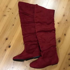 Brand new over the knee dark red boots